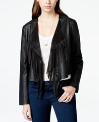 Collection B Cropped Faux Leather Fringe Jacket