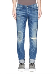 3X1 'M5' Distressed Slim Fit Jeans Blue