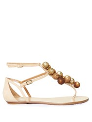 Aquazzura Disco Sequinned Pompom Suede Flat Sandals Nude Multi