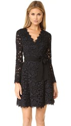Diane Von Furstenberg Shaelyn Wrap Dress Black Navy Black