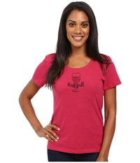 Life Is Good Half Full Wine Glass Crusher Scoop Rose Berry Women's Short Sleeve Pullover Pink