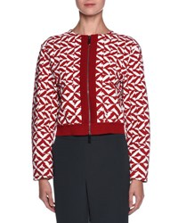 Giorgio Armani Geometric Print Zip Bomber Jacket Red Multi Colors Rd W