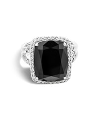 John Hardy Sterling Silver Batu Classic Chain Ring With Black Onyx And Diamonds Black White