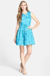Plenty By Tracy Reese 'Bailey' Embroidered Organza Fit And Flare Dress Blue