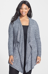 Barefoot Dreams 'Bamboo Chic' Drape Front Cardigan Plus Size Nordstrom Exclusive Midnight White Heather