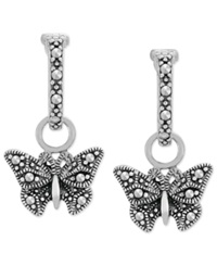 Genevieve And Grace Sterling Silver Marcasite Butterfly Drop Hoops