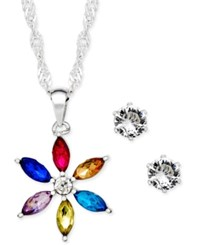 Charter Club Silver Tone Crystal Daisy Pendant Necklace And Stud Earrings Set Only At Macy's