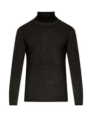 John Varvatos Roll Neck Silk And Cashmere Blend Sweater Dark Grey