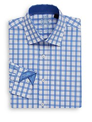 English Laundry Regular Fit Checked Dress Shirt Blue