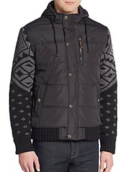 Buffalo David Bitton Wohen Knit Paneled Jacket Black