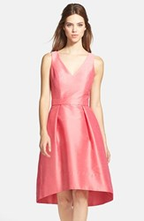 Women's Alfred Sung Satin High Low Fit And Flare Dress Papaya