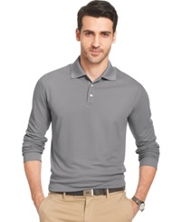 Van Heusen Big And Tall Long Sleeve Tonal Grid Performance Polo Gargoyle Grey