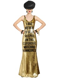 Moschino Nothing To Wear Sequined Tulle Dress Gold Black