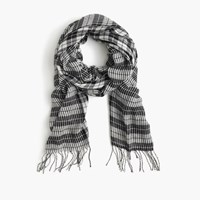 J.Crew Houndstooth Scarf In Italian Wool Blend Black Ivory