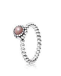 Pandora Design Pandora Ring Sterling Silver And Pink Opal Birthday Blooms October