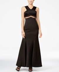 Teeze Me Juniors' Embellished Illusion Waist Gown Black