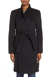 Women's Ellen Tracy Belted Wool Blend Stand Collar Coat Black