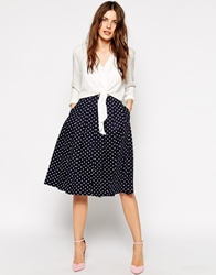 Helene Berman Polka Dot Full Skirt Navywhitespot