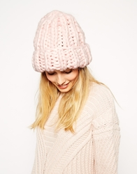 Asos Beanie In Hand Knit Chunky Rib Pink