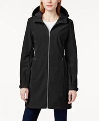 Calvin Klein Petite Zip Front Hooded Rain Coat Black