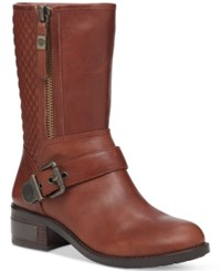 Vince Camuto Whynn Quilted Moto Booties Women's Shoes Chocolate Decadence