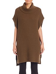Theory Boseley Fine Haven Wool Cashmere Turtleneck Poncho Army