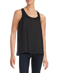 Lord And Taylor Linen Keyhole Tank Black