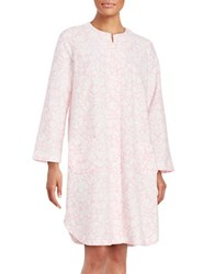 Miss Elaine Plus Printed Duster Robe White