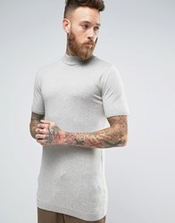 Asos Longline Turtle Neck T Shirt In Muscle Fit Grey Marl