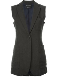 Erika Cavallini Semi Couture Sleeveless Jacket Grey