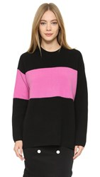 Edun Colorblock Renoir Sweater Neon Pink