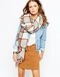 New Look Mink Red Large Check Scarf