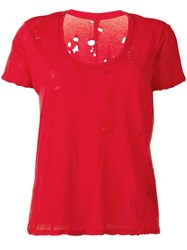Unravel Project Distressed T Shirt Red