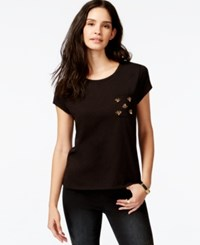Rachel Rachel Roy Short Sleeve Embellished Pocket T Shirt