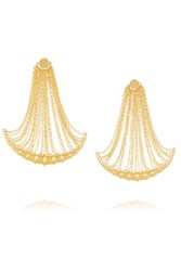 Arme De L'amour Bamboo Fringed Gold Plated Earrings