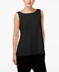 Eileen Fisher High Low Boat Neck Shell Black