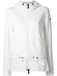 Moncler Contrast Panel Hoodie White