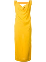 Vivienne Westwood Anglomania Open Back Draped Dress Yellow And Orange
