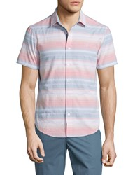 Penguin Sunset Stripe Short Sleeve Sport Shirt Bright White