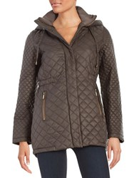 French Connection Hooded Quilted Coat Taupe