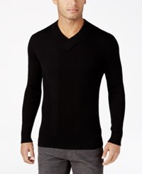 Inc International Concepts Men's Ribbed V Neck Sweater Only At Macy's Deep Black