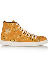 Charlotte Olympia Printed Canvas High Top Sneakers Yellow