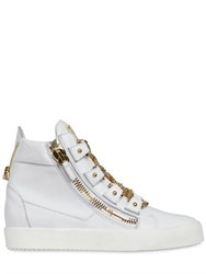 Giuseppe Zanotti Chain Lace Up Leather High Top Sneakers