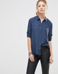 See U Soon Blouse With Embroidered Collar Detail Navy