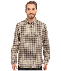 Filson Vintage Flannel Work Shirt Cream Black Brown Tartan Men's Clothing