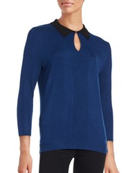 Karl Lagerfeld Collared Knit Sweater Atlantic Blue