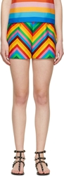 Valentino Rainbow Baladera Chevron Striped Shorts