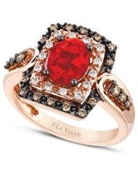 Le Vian Fire Opal 5 8 Ct. Chocolate And White Diamond 1 3 Ct. T.W. Ring In 14K Rose Gold Orange