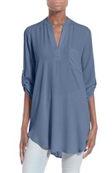 Women's Lush 'Perfect' Roll Tab Sleeve Tunic Moonlight Blue