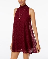 Planet Gold Juniors' Crocheted Shift Dress Burgundy